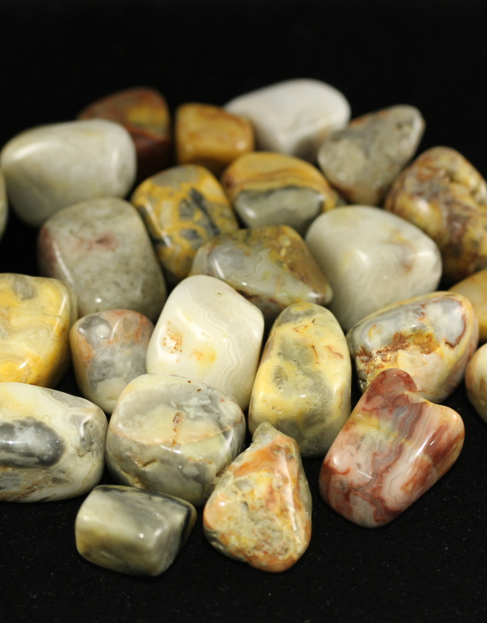 Tumbled Crazy Lace Agate Yellow