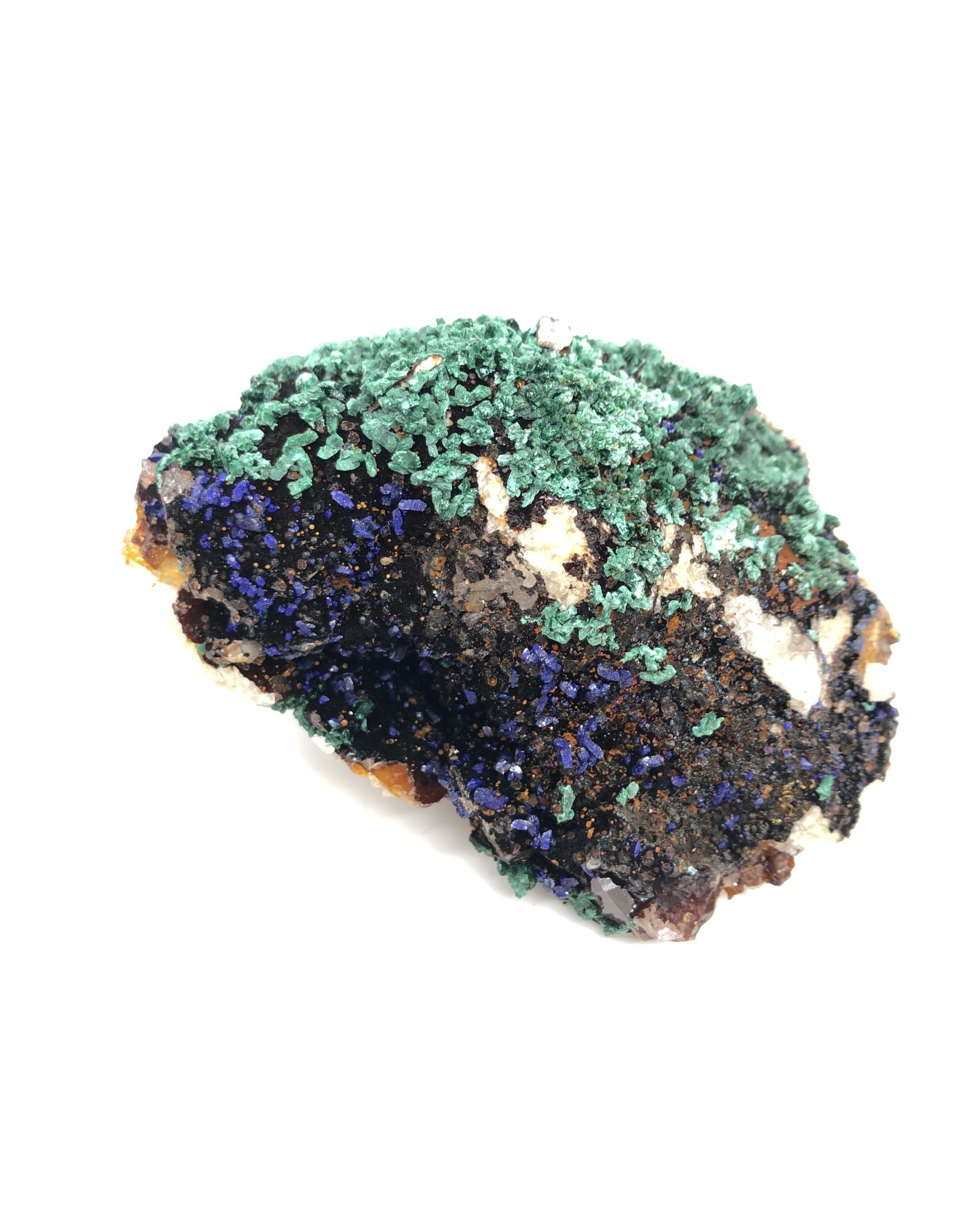 Malachite and Azurite Crystals on Quartz (Morocco)