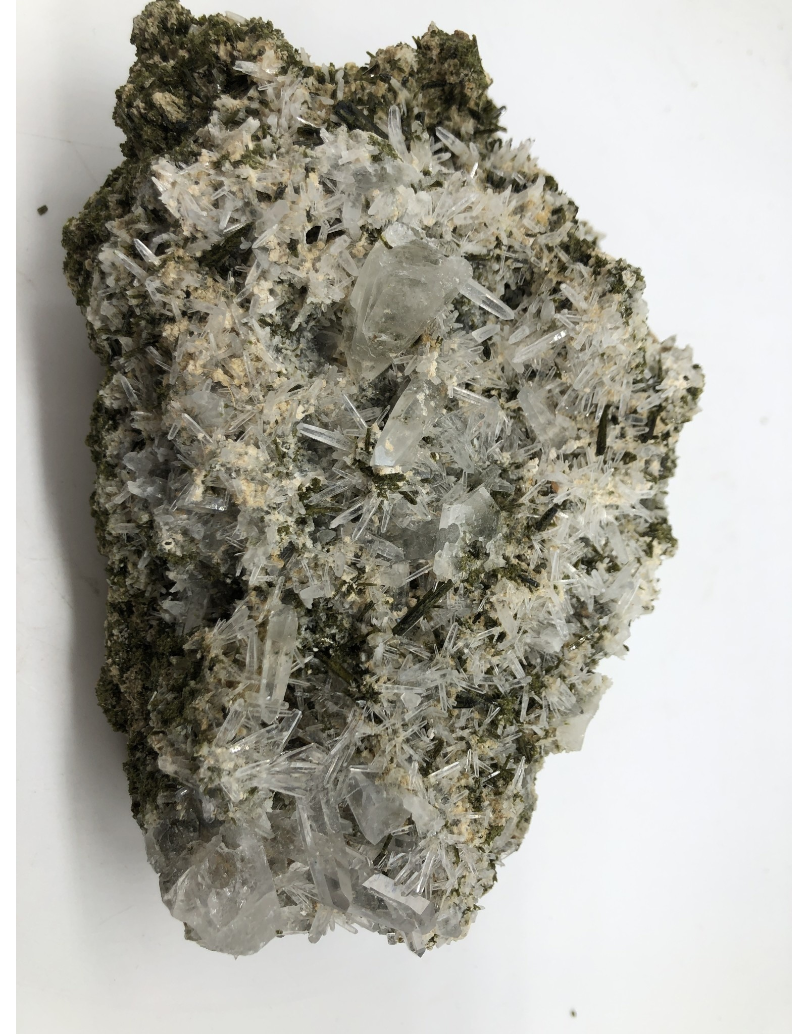 Epidote with Quartz Crystals (San Felipe Quarry, Peru)