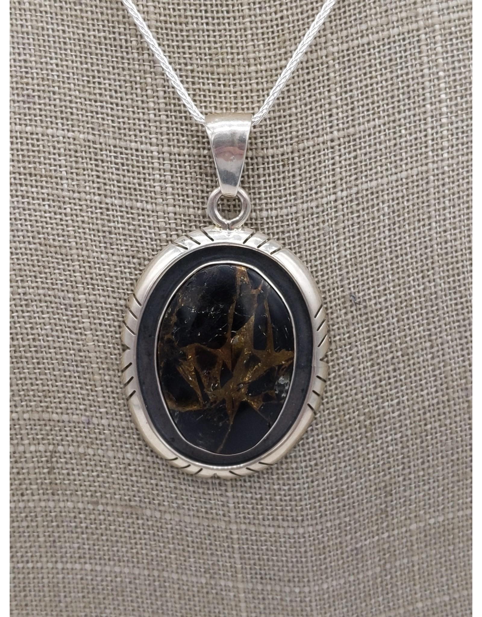 Obsidian & Bronze Matrix Pendant