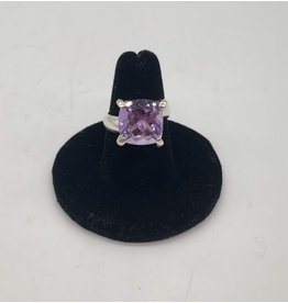 Charles Albert Sterling Silver Amethyst Prong Set Ring (Md Square Cut)