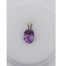 Faceted Amethyst 9x7mm Oval Pendant