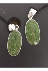 Charles Albert Stering Silver Oval Nephrite Jade Pendant