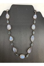 Rainbow Moonstone & Blue Topaz Necklace