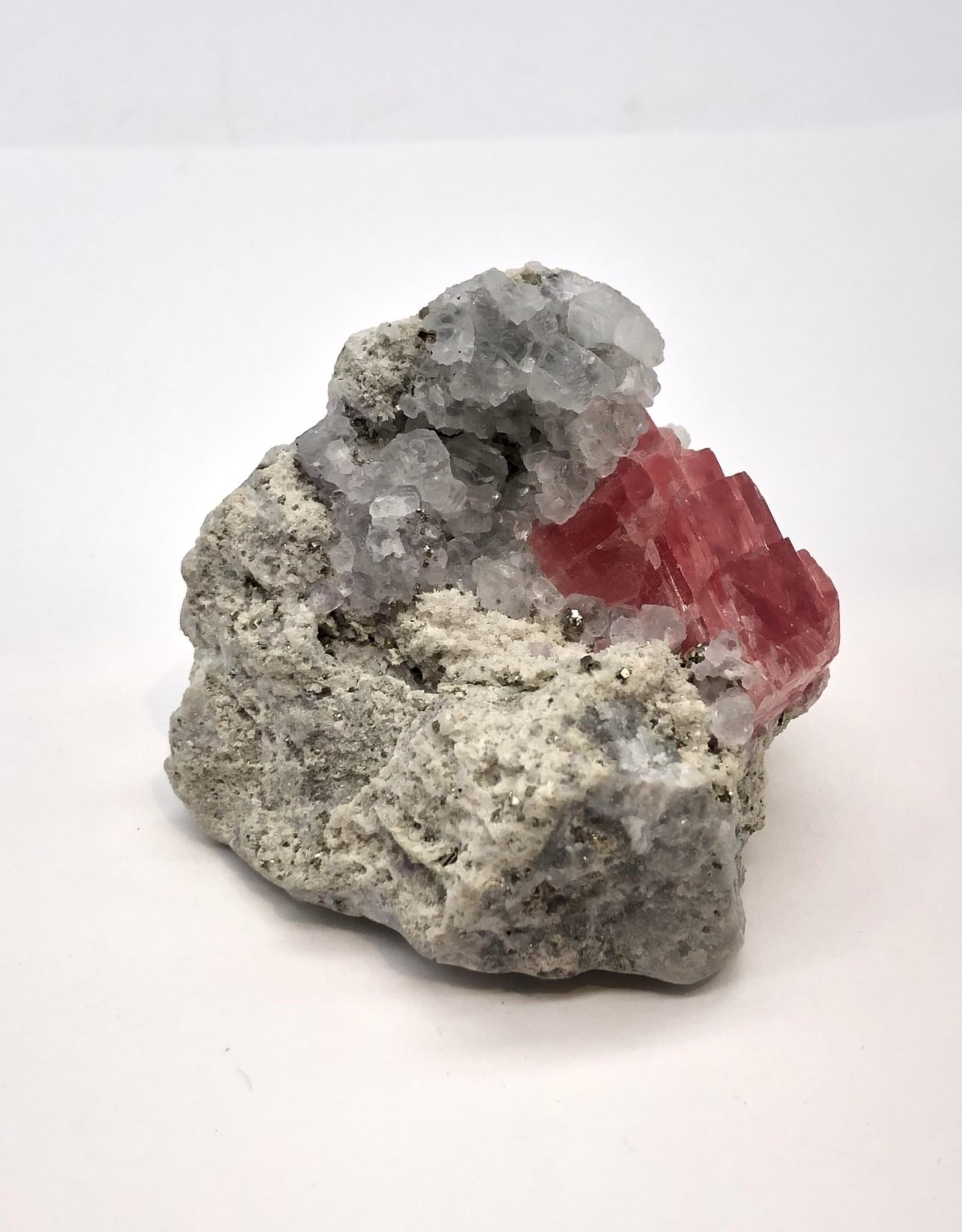 Rhodocrosite with Fluorite on Matrix - China 2004