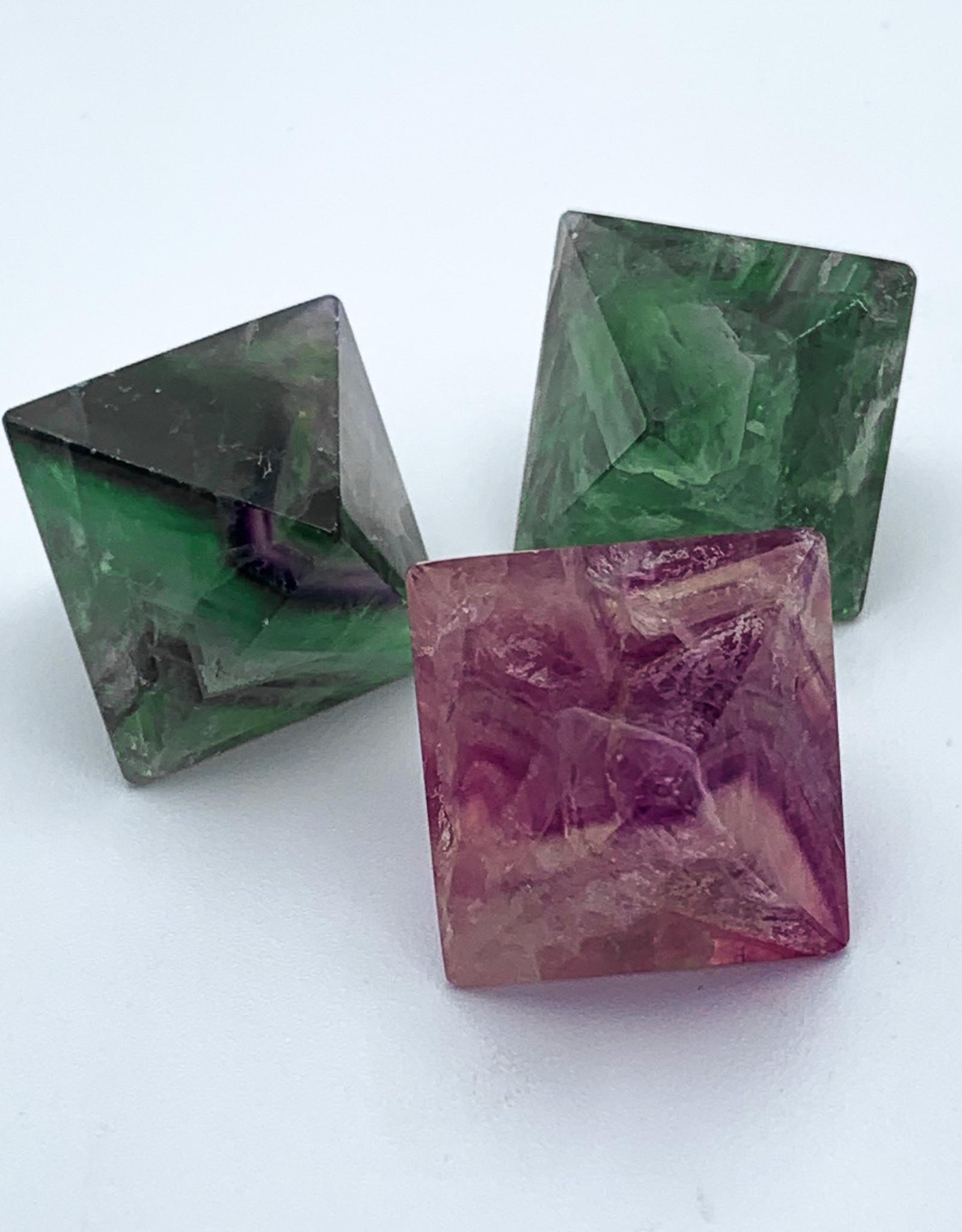 Polished Rainbow Fluorite Octahedron
