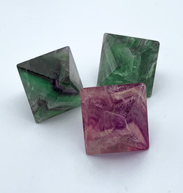 Polished Rainbow Fluorite Octahedron