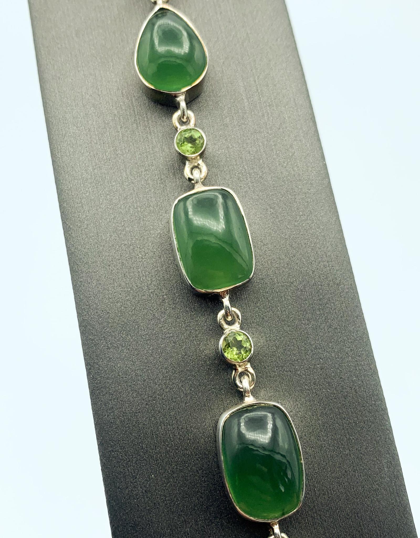 Nephrite Jade & Peridot Bracelet