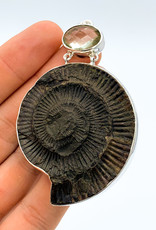 Metal Ammonite & Green Amethyst Pendant