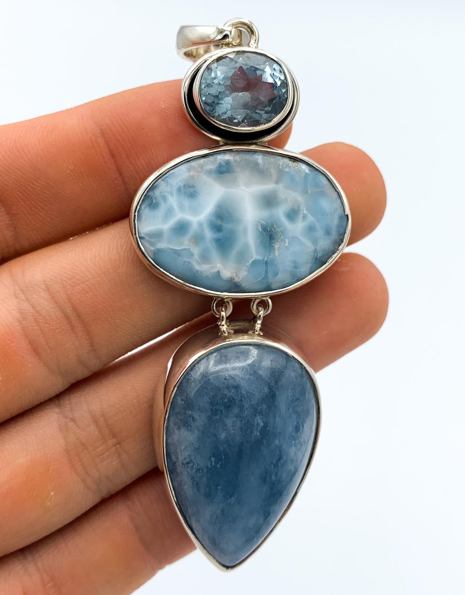 Aquamarine, Larimar & Blue Topaz Pendant