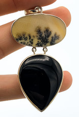 Black Onyx & Scenic Agate Pendant