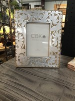MIDWEST CBK 134115 PICTURE FRAME SILVER AND WOOD FLORAL 5X7