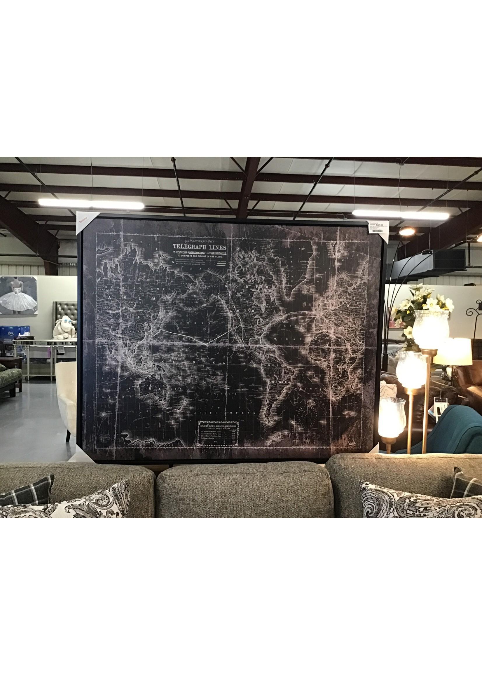 ASHLEY WALL ART TELEGRAPH MAP BLACK/WHITE