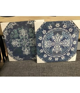 GIFTCRAFT 085870 CANVAS WALL PRINT BLUE/WHITE