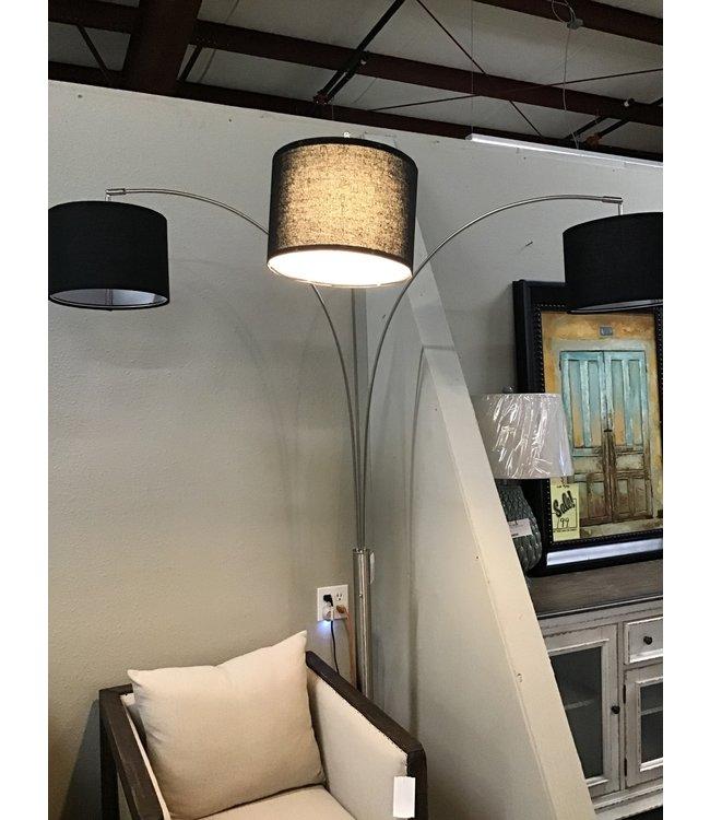 CROWNMARK 3 ARM FLOOR LAMP CHROME/BLACK SHADE