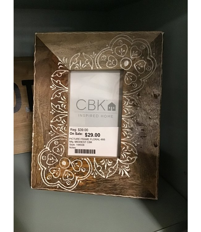 MIDWEST CBK PICTURE FRAME FLORAL 4X6