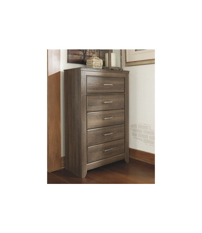 ASHLEY JUARARO 5 DRAWER CHEST IN DARK BROWN
