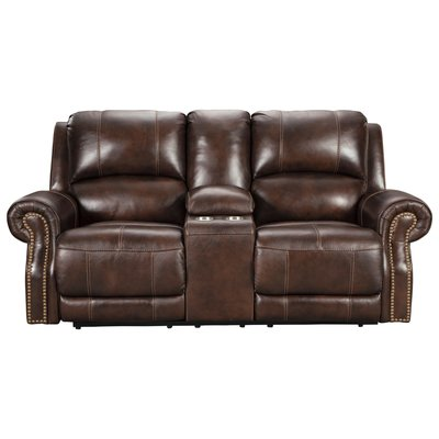 ASHLEY Loveseat Rec Buncrana Leather Power