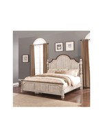 FLEXSTEEL W1047 90K 6/6 POSTER BED PLYMOUTH DISTRESSED WHITEWASH