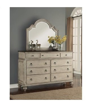 FLEXSTEEL PLYMOUTH 9 DRAWER DRESSER IN WHITEWASH-GRAY
