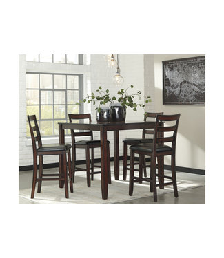 ASHLEY COVAIR 5 PIECE COUNTER DINETTE SET IN BROWN