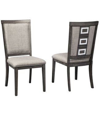 ASHLEY D624-01 CHAIR DINING CHADONI GRAY UPHOLSTERED
