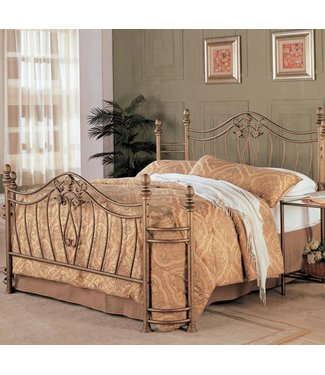 COASTER SYDNEY QUEEN ANTIQUE BRUSHED GOLD METAL BED