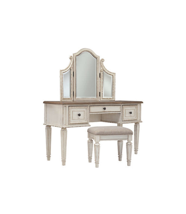 ASHLEY VANITY AND MIRROR WITH STOOL REALYN
