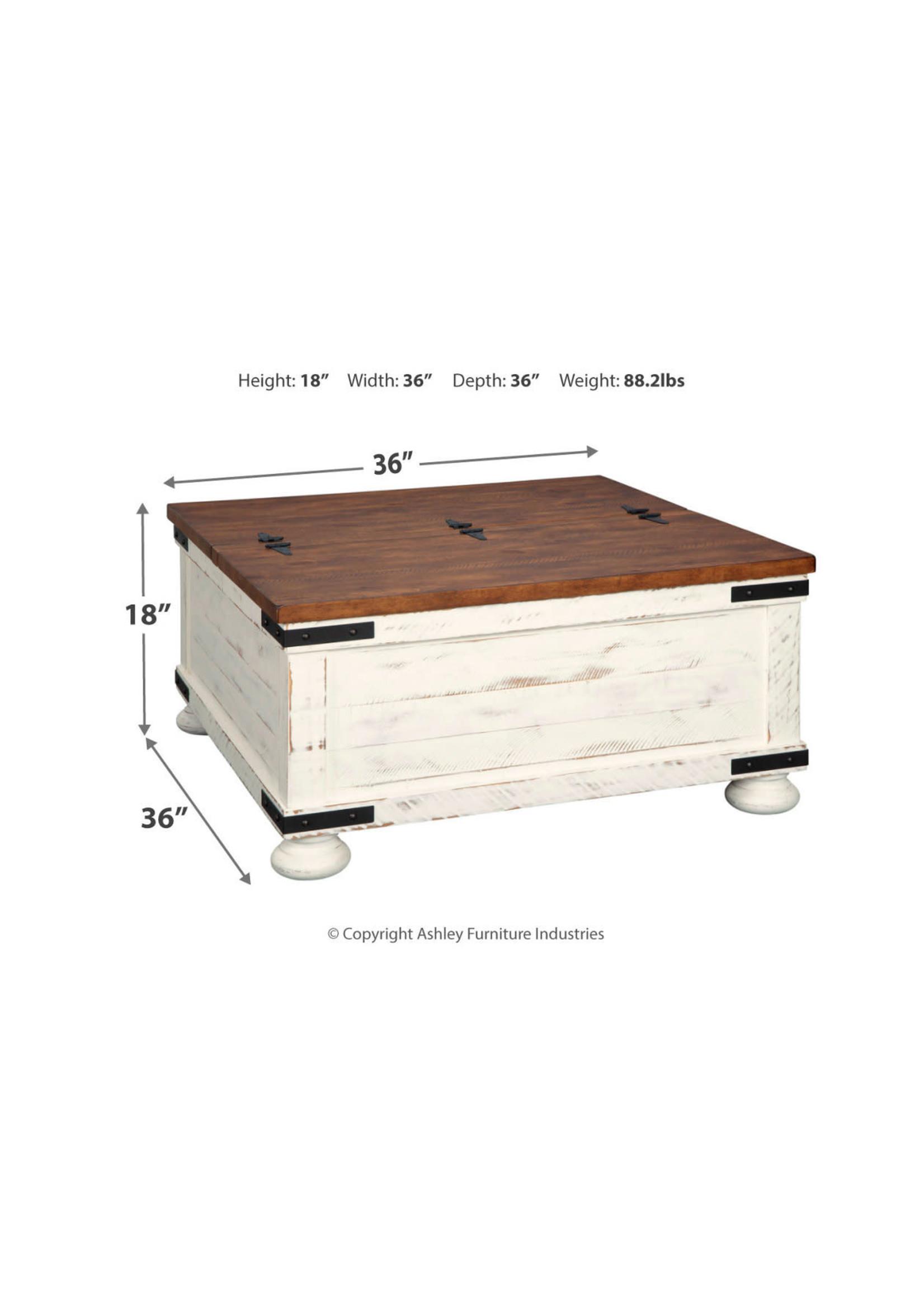 ASHLEY WYSTFIELD STORAGE COFFEE TABLE BROWN & WHITE