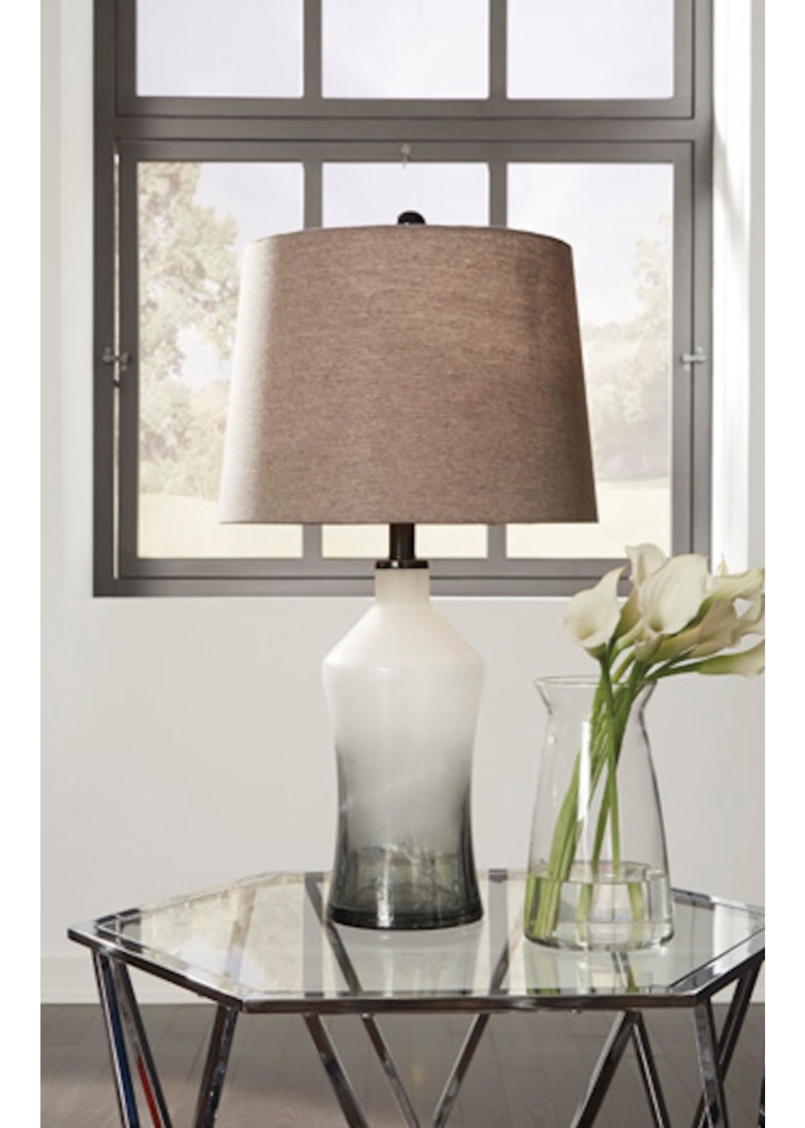 ASHLEY NOLLIE LAMP IN GRAY GLASS