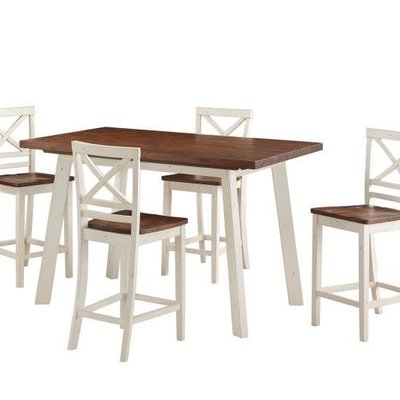 STANDARD 19092 5PC COUNTER HEIGHT DINING SET AMELIA BROWN/WHITE