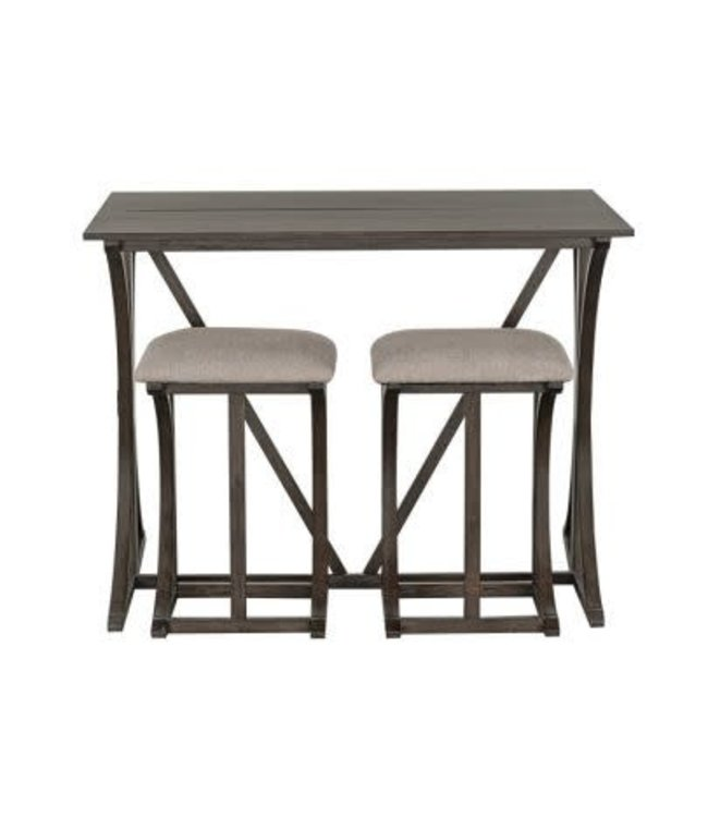 10152e Folding Bar Table 2 Stool Set Amberleigh Brown Tree House Furniture