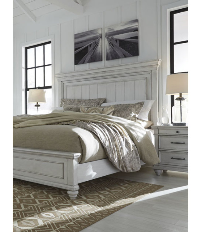 ASHLEY QUEEN BED KANWYN WHITEWASH PANEL HB/FB