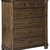 B718-45 5 DRAWER CHEST LAKELEIGH BROWN