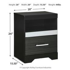 ASHLEY B304-91 One Drawer Night Stand STARBERRY BLACK