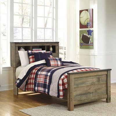 ASHLEY B446-52/63/83 3/3 TWIN BOOKCASE BED TRINELL WORN PLANK