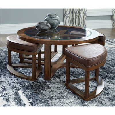 ASHLEY T725-8 COCKTAIL TABLE W/4 STOOLS