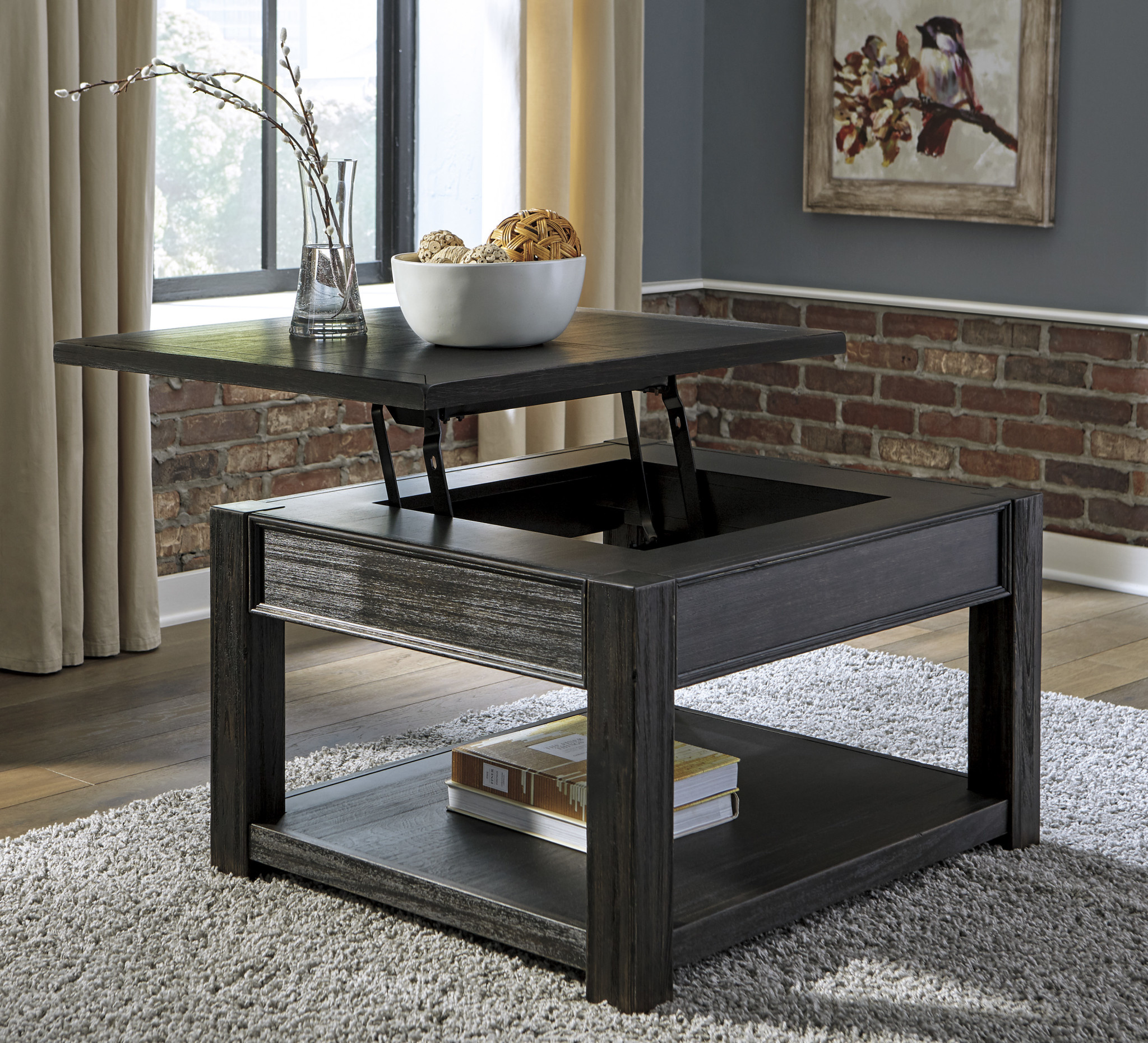 T732 0 Lift Top Tail Table Gavelston Black
