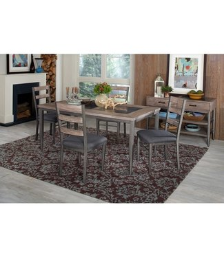 ELEMENTS D312-33 RECTANGLE TILE DINING TABLE RIVER LOFT RUSTIC OAK/METAL