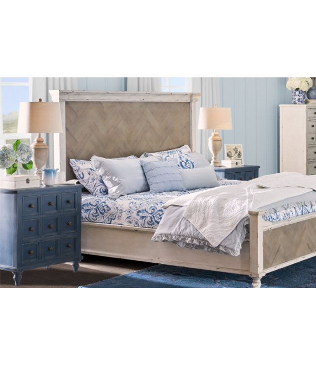 LEGENDS KING PANEL BED LAUREL GROVE PARQUET PANEL LOW COUNTRY WHITE
