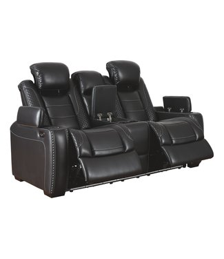 ASHLEY 3700318 PWR RECLINING LOVESEAT PARTY TIME MIDNIGHT