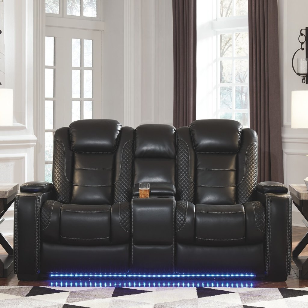 ASHLEY 3700318 PWR RECLINING LOVE SEAT PARTY TIME MIDNIGHT