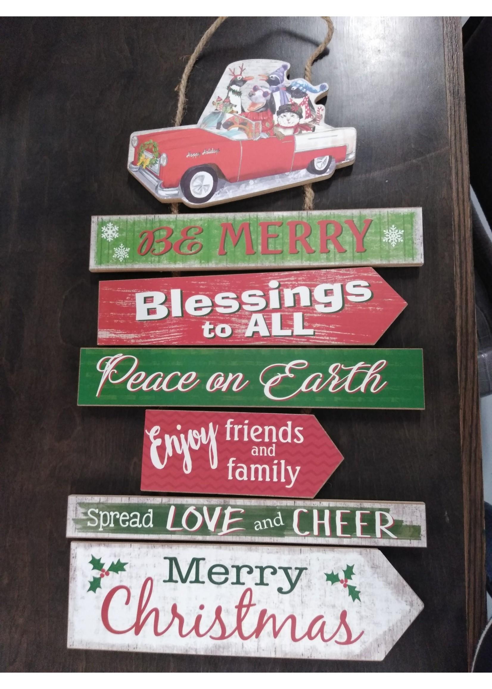GANZ EX25207 CHRISTMAS PRINT SIGN PLNK BE MERRY