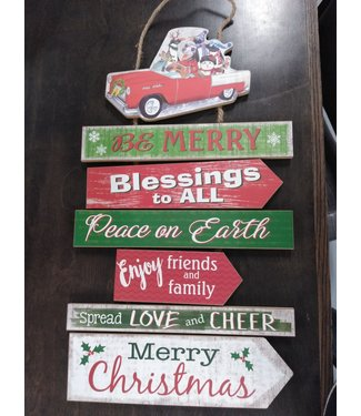 GANZ EX25207 CHRISTMAS PRINT SIGN PLNK BE MERRY