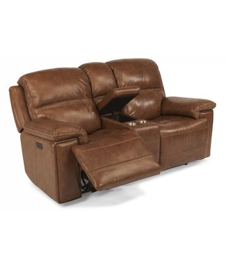 FLEXSTEEL FENWICK POWER RECLINING LOVESEAT WITH CONSOLE & POWER HEADRESTS