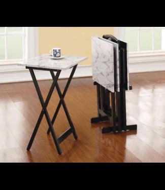 LINON 43001WHTSET-01-AS TABLE TRAY SET FAUX WHITE MARBLE TOP