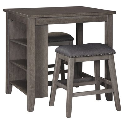 ASHLEY D388-113 RECT DRM COUNTER TBL W/2 STOOLS CAITBROOK GRAY