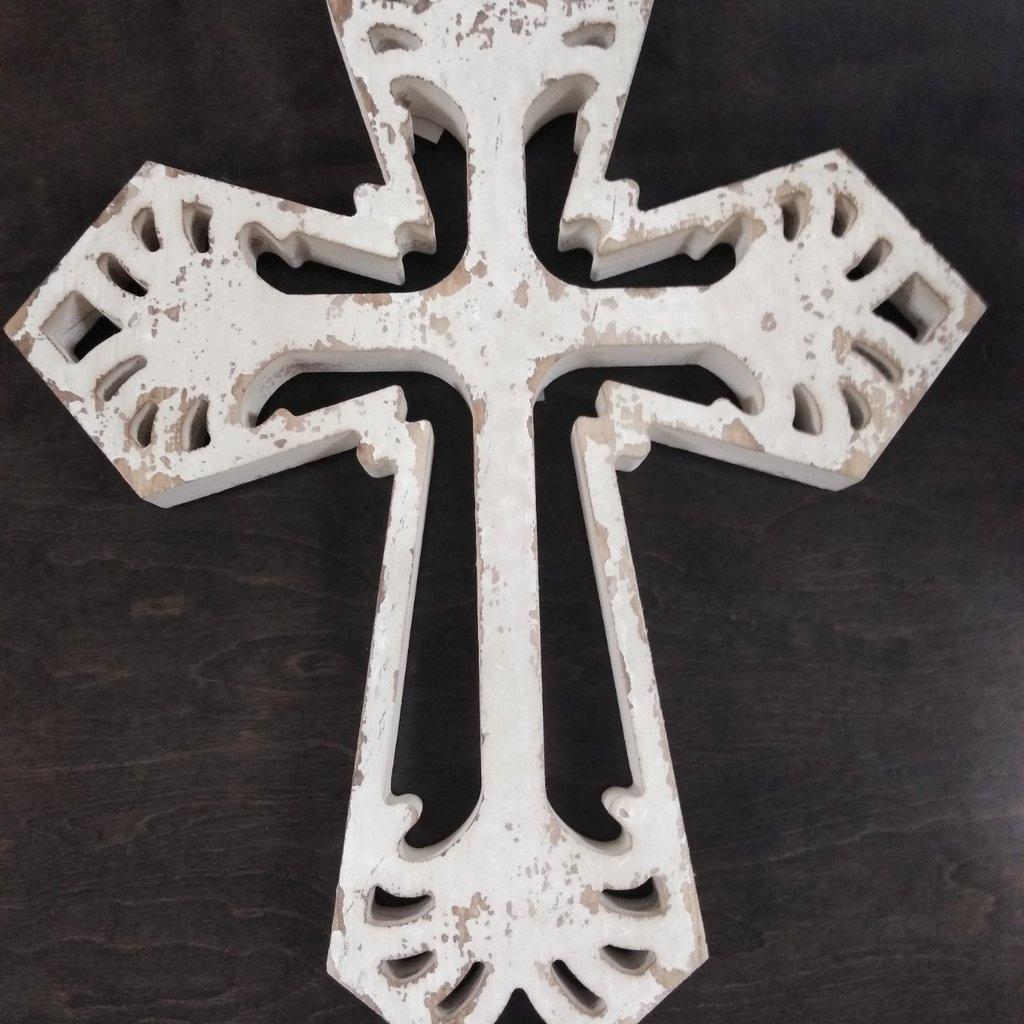 Ganz 168149 Wall Decor Cross Stressed White