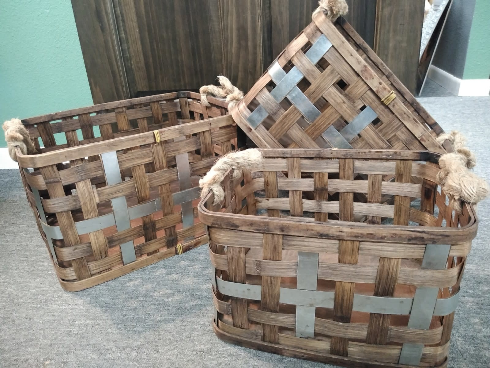 159530 3PC SET WOVEN BASKET