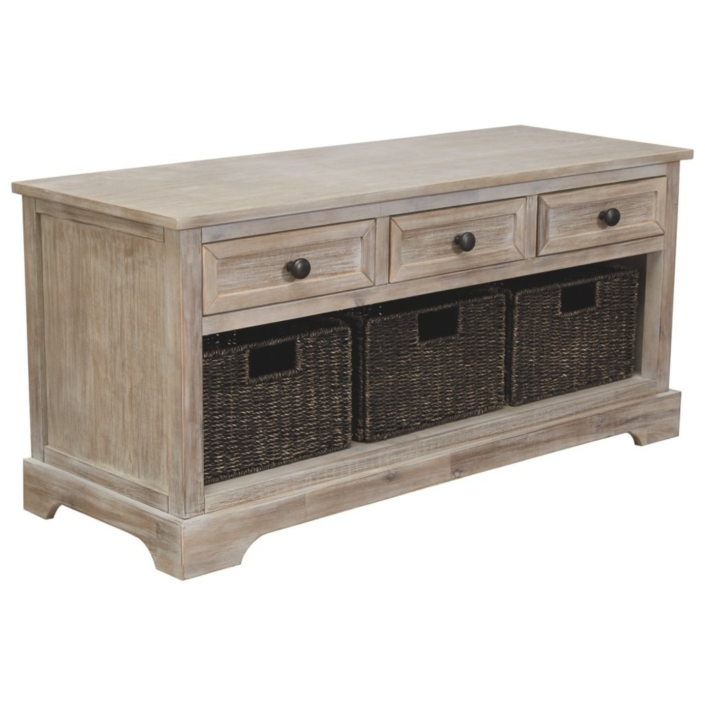 ASHLEY A3000198 STORAGE BENCH WITH BASKETS OSLEMBER